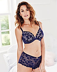 Daisy Lace Plunge Wired Navy Bra