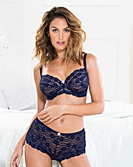 Daisy Lace Full Cup Wired Navy Bra