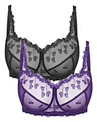 2 Pack Ava NonWired Black/Purple Bras