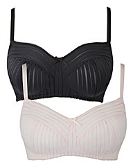 2 Pack NonWired Black/Blush Bralettes
