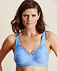 Blue Sarah Cotton Rich Non Wired Bra