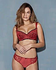 Satin and Lace Balcony Black/Red Bra