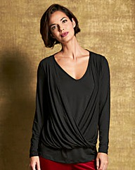 Wrap Front Point Hem Top