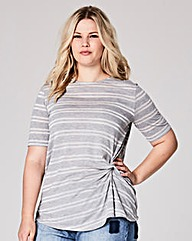 Glitter Stripe Twist Side Tshirt