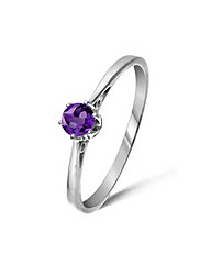 9ct White Gold 0.2 Carat Amethyst Ring
