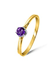 9ct Gold 0.2Ct Amethyst Ring