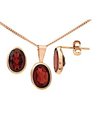 9ct Gold 3Ct Garnet Ear/Pen Set