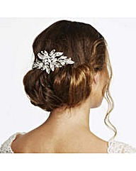 Vintage Style Crystal Leaf Hair Comb