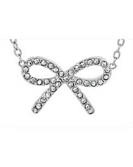 Rhodium Plated Crystal Set Bow Pendant