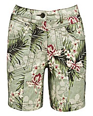 Printed Linen Short with Belt