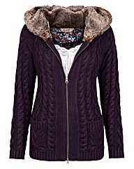 Joe Browns Hooded Fur LIned Cardigan