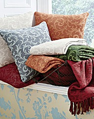 Cotton Acanthus Design Throw 2 Pack