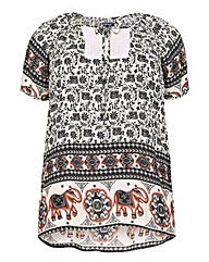 Samya Plus Size Tribal Print Top