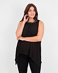 Koko Diamante Crepe Hanky Hem Top
