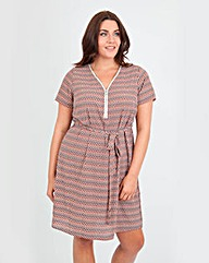 Koko Zig Zag Print Zip Front Dress