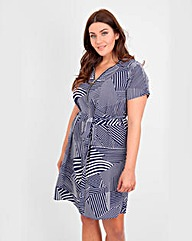 Koko Block Stripe Print Zip Front Dress