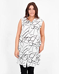 Koko Broken Glass Split Long line Shirt