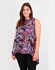 Koko Palm Leaf Print Dip Hem Top
