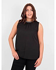 Koko Diamante High Neck Sleeveless Top