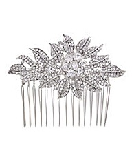 Mood crystal floral leaf hair comb