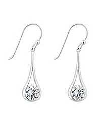 Simply Silver floating teardrop earring