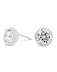 Simply Silver pave surround stud earring
