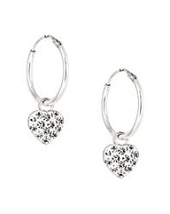 Simply Silver pave heart hoop earring