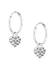 Simply Silver pave heart hoop earring