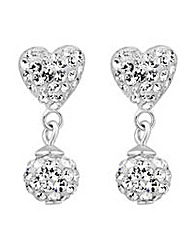 Simply Silver pave heart drop earring