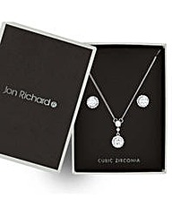 Jon Richard Silver circle jewellery set