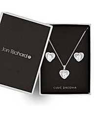Jon Richard Silver heart jewellery set