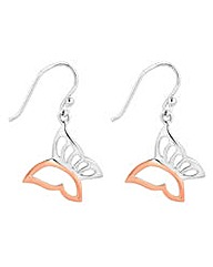 Simply Silver two tone butterfly earring