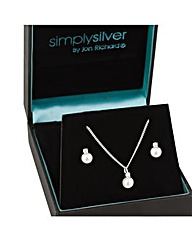 Simply Silver Cubic Zirconia Pearl Set