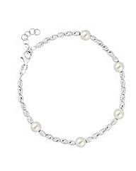 Simply Silver Oval Ball Pearl Bracelet