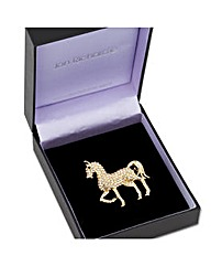 Jon Richard Gold Crystal Horse Brooch