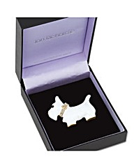 Jon Richard White Scotty Dog Brooch