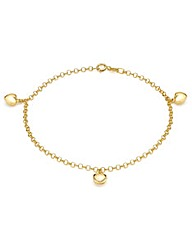 9ct Gold Three Small Hearts Bracelet
