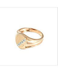 Rose Gold Plated Patterned Signet Ring