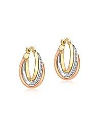 9CT 3 Colour Gold  Hoop Earrings