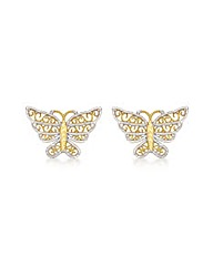 9CT Yellow & White Butterfly Earrings