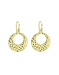 Sterling Silver Gold Plated Disc Earring