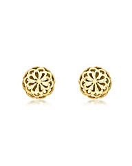 9CT Yellow Gold Filigree Dome  Earrings