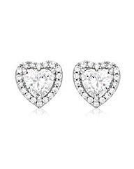 9CT White Gold Heart Stud Earrings