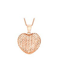 9CT Red Gold Mesh Heart Necklace
