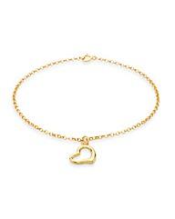 9CT Gold Round Belcher & Heart Bracelet