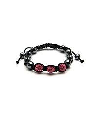 Black Cord Pink Glitterball Bracelet
