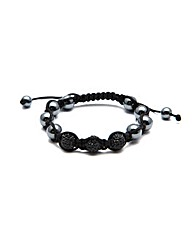 Black Cord Black Glitterball Bracelet