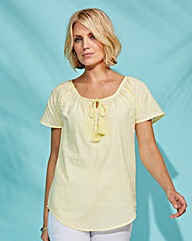 Cotton Dobby Blouse with Embroidery
