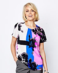 Modern Pleat-Neckline Floral Blouse