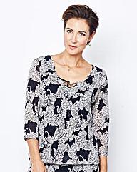 Lace Print Mesh Blouson Top